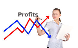 Businesswoman drawing graph Royalty Free Stock Photography