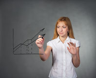 Businesswoman drawing a graph on a visual screen with marker Royalty Free Stock Image
