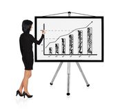 Businesswoman drawing graph. Woman standing and drawing graph Stock Photos