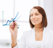 Businesswoman drawing graps in the air Royalty Free Stock Image