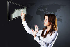 Businesswoman drawing growth of chart Royalty Free Stock Photo