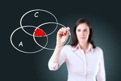 Businesswoman drawing intersected circle diagram. Young businesswoman drawing intersected circle diagram on whiteboard Royalty Free Stock Images