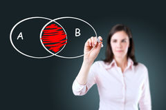 Businesswoman drawing intersected circle diagram. Stock Photography