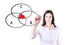 Businesswoman drawing intersected circle diagram. Royalty Free Stock Photography