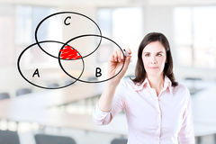 Businesswoman drawing intersected circle diagram Stock Image