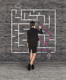 Businesswoman drawing labyrinth on wall Stock Images