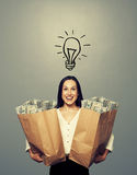 Businesswoman with drawing light bulb Royalty Free Stock Photo