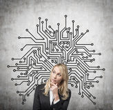 Businesswoman and drawing microchip. Businesswoman thinking and drawing microchip on wall Royalty Free Stock Photo