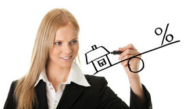 Businesswoman drawing a mortgage illustration Stock Photography