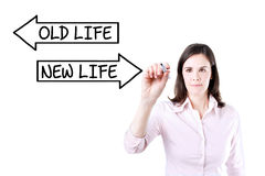 Businesswoman drawing an Old Life or New Life concept on the screen. Royalty Free Stock Photography