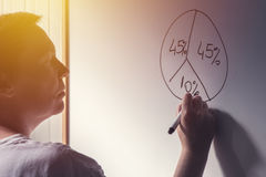 Businesswoman drawing pie chart on office whiteboard. During business results analysis and presentation, selective focus Royalty Free Stock Image