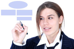 Businesswoman drawing plan Royalty Free Stock Photography