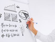 Businesswoman drawing plan on flip board. Business, office, economics and finances concept - businesswoman drawing plan on flip board in office stock image