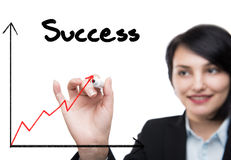 Businesswoman drawing rising graph Stock Image