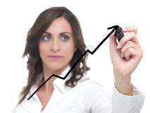 Businesswoman drawing statistics Stock Images