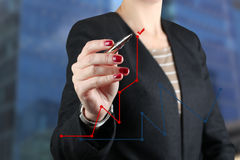 Businesswoman  drawing a virtual  graph by  a red pen Royalty Free Stock Image