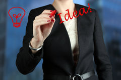Businesswoman  drawing word idea  by  a red pen Royalty Free Stock Images
