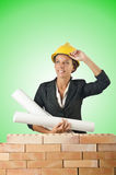 The businesswoman with drawings near brick wall Stock Photography