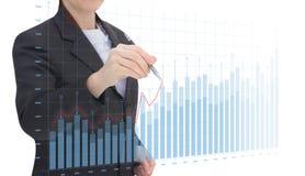 Businesswoman draws graphs . Businesswoman draws graphs on a white background stock image