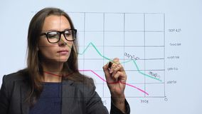 Woman draws various growth charts, calculating prospects for success in a modern glass office stock video