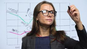 Woman draws various growth charts, calculating prospects for success in a modern glass office stock video footage