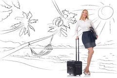 The businesswoman dreaming of beach vacation Stock Photography
