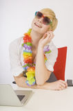 Businesswoman dreaming about vacation Stock Images