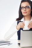 Businesswoman drinking coffee stock photos