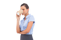 Businesswoman drinking cup of coffee Stock Images