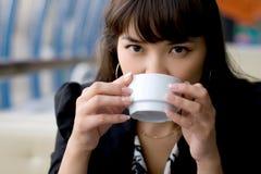 Businesswoman Drinking Tea Stock Photo