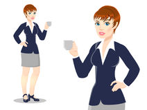 Businesswoman drinks tea, coffee. Businesspeople drinking coffee,Young pretty, vector illustration on white background stock illustration
