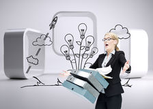 Businesswoman dropping many folders Royalty Free Stock Image