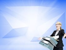 Businesswoman dropping many folders Stock Photo