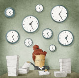 Businesswoman drowning in paperwork.Clocks on wall Stock Image