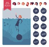Businesswoman drowning with a weight creation set stock illustration