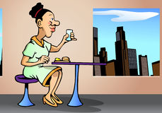 Businesswoman eat. Illustration of a businesswoman eat in office table Stock Photos