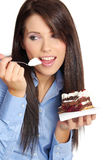 Businesswoman eating the cake Royalty Free Stock Images