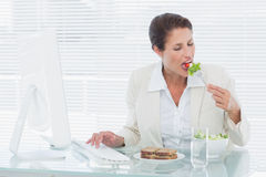Businesswoman eating salad and using computer at desk Royalty Free Stock Images