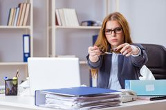 The businesswoman employee sick in the office. Businesswoman employee sick in the office Stock Images