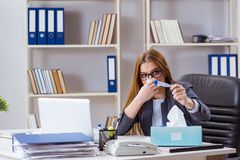The businesswoman employee sick in the office. Businesswoman employee sick in the office Stock Image