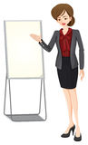 A businesswoman beside the empty board royalty free illustration