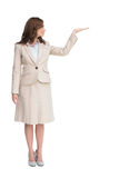 Businesswoman with empty hand open Royalty Free Stock Photography