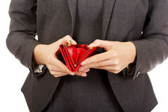 Businesswoman with empty wallet. Royalty Free Stock Image