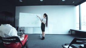 Businesswoman ends her speech stock footage