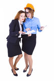 Businesswoman and engineer are discussing new project Royalty Free Stock Photography