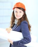 businesswoman engineer the plan Royalty Free Stock Photography