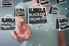 Businesswoman enjoying black Friday sales 3D rendering Royalty Free Stock Images