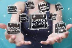 Businesswoman enjoying black Friday sales 3D rendering. Businesswoman on blurred background enjoying black Friday sales 3D rendering Stock Photography