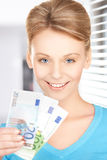 Businesswoman with euro cash money Stock Photo