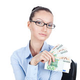 Businesswoman  with euros in hand Stock Photos